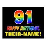 [ Thumbnail: 91st Birthday: Bold, Fun, Simple, Rainbow 91 Postcard ]