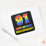 [ Thumbnail: 91st Birthday: Bold, Fun, Simple, Rainbow 91 Sticker ]