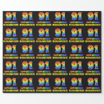 [ Thumbnail: 91st Birthday: Bold, Fun, Simple, Rainbow 91 Wrapping Paper ]
