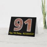 "[ Thumbnail: 91st Birthday - Brick Wall Pattern ""91"" W/ Name Card ]"