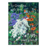 91st Birthday Card for a Grandmother - June Garden