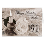 91st Birthday card for mother,The candle and rose