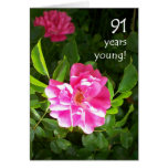 91st Birthday Card - Pink Roses