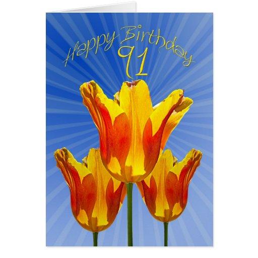 91st Birthday card, tulips full of sunshine Greeting Card