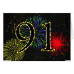 91st Birthday card with fireworks