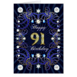 91st birthday card with masses of jewels