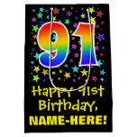 [ Thumbnail: 91st Birthday: Colorful Stars Pattern & Rainbow 91 Gift Bag ]