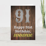 [ Thumbnail: 91st Birthday: Country Western Inspired Look, Name Card ]