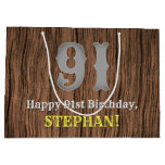 [ Thumbnail: 91st Birthday: Country Western Inspired Look, Name Gift Bag ]