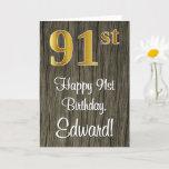 [ Thumbnail: 91st Birthday: Elegant Faux Gold Look #, Faux Wood Card ]