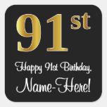 [ Thumbnail: 91st Birthday - Elegant Luxurious Faux Gold Look # Sticker ]