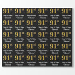 [ Thumbnail: 91st Birthday: Elegant Luxurious Faux Gold Look # Wrapping Paper ]