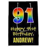 "[ Thumbnail: 91st Birthday: Fun, Bold, Colorful, Rainbow ""91"" Gift Bag ]"
