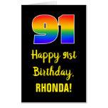 [ Thumbnail: 91st Birthday: Fun, Colorful, Happy, Rainbow # 91 Card ]