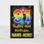 [ Thumbnail: 91st Birthday: Fun Fireworks Pattern + Rainbow 91 Card ]