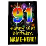 [ Thumbnail: 91st Birthday: Fun Fireworks Pattern + Rainbow 91 Gift Bag ]