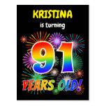 "[ Thumbnail: 91st Birthday - Fun Fireworks, Rainbow Look ""91"" Postcard ]"