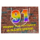 [ Thumbnail: 91st Birthday: Fun, Graffiti-Inspired Rainbow # 91 Gift Bag ]