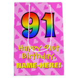 [ Thumbnail: 91st Birthday: Fun Pink Hearts Stripes; Rainbow 91 Gift Bag ]