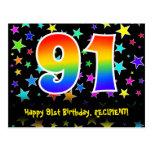 [ Thumbnail: 91st Birthday: Fun Stars Pattern, Rainbow 91, Name Postcard ]