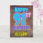 [ Thumbnail: 91st Birthday - Fun, Urban Graffiti Inspired Look Card ]