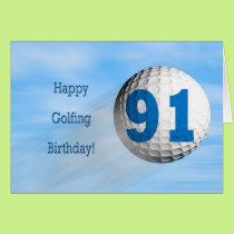 91st birthday golfing card