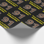 """[ Thumbnail: 91st Birthday: Name & Faux Wood Grain Pattern """"91"""" Wrapping Paper ]"""