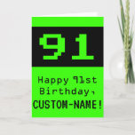 """[ Thumbnail: 91st Birthday: Nerdy / Geeky Style """"91"""" and Name Card ]"""