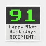 """[ Thumbnail: 91st Birthday - Nerdy / Geeky Style """"91"""" & Name Napkins ]"""