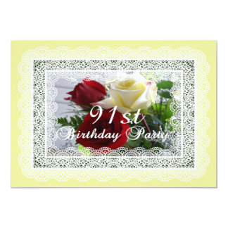 91st  Birthday Party Celebration-Red/Yellow Roses Card