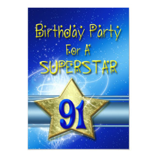 91st Birthday party Invitation for a Superstar.