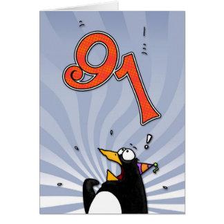 91st Birthday - Penguin Surprise Card