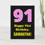 """[ Thumbnail: 91st Birthday: Pink Stripes and Hearts """"91"""" + Name Card ]"""