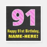 "[ Thumbnail: 91st Birthday: Pink Stripes and Hearts ""91"" + Name Napkins ]"