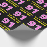 """[ Thumbnail: 91st Birthday: Pink Stripes and Hearts """"91"""" + Name Wrapping Paper ]"""