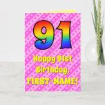 [ Thumbnail: 91st Birthday: Pink Stripes & Hearts, Rainbow # 91 Card ]