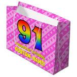 [ Thumbnail: 91st Birthday: Pink Stripes & Hearts, Rainbow # 91 Gift Bag ]
