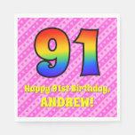 [ Thumbnail: 91st Birthday: Pink Stripes & Hearts, Rainbow # 91 Napkins ]