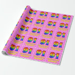 [ Thumbnail: 91st Birthday: Pink Stripes & Hearts, Rainbow # 91 Wrapping Paper ]