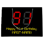 "[ Thumbnail: 91st Birthday: Red Digital Clock Style ""91"" + Name Gift Bag ]"