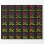 "[ Thumbnail: 91st Birthday: Red Digital Clock Style ""91"" + Name Wrapping Paper ]"