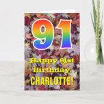 "[ Thumbnail: 91st Birthday; Rustic Autumn Leaves; Rainbow ""91"" Card ]"