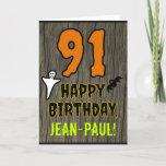 [ Thumbnail: 91st Birthday: Spooky Halloween Theme, Custom Name Card ]