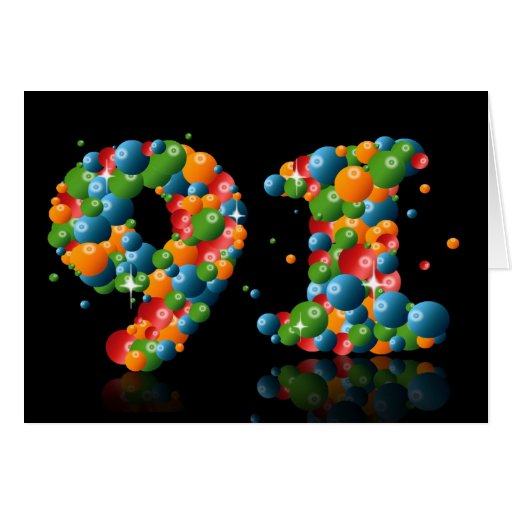 91st birthday with numbers formed from balls greeting card