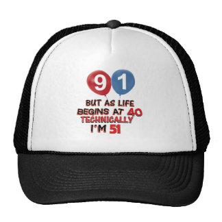 91st year birthday designs trucker hat