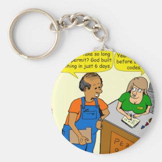 925 building permit cartoon keychain