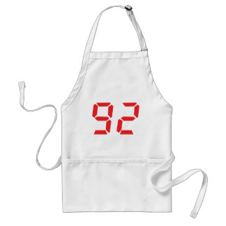 92 ninety-two red alarm clock digital number adult apron