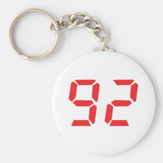 92 ninety-two red alarm clock digital number basic round button keychain