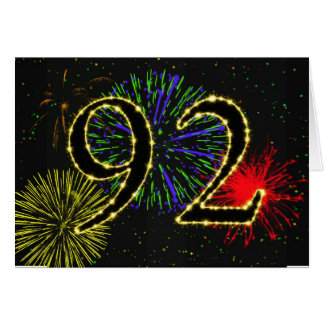 92.o Tarjeta de cumpleaños con los fuegos