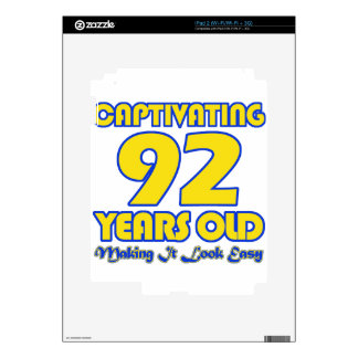 92 YEARS OLD BIRTHDAY DESIGNS SKIN FOR iPad 2
